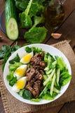 Sallad med kryddigt nötkött, gurkan och ägg arkivfoton