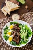 Sallad med kryddigt nötkött, gurkan och ägg royaltyfria bilder