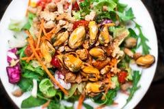 Sallad med musslor och arugula/havs- sallad/Healthy sallad w royaltyfri bild