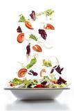 Sallad med nya grönsaker som faller på plattan Royaltyfri Foto