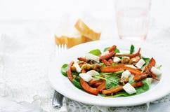 Sallad med spenat, mozzarellaen, valnötter och caramelized morötter Royaltyfri Foto