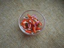 sallad med tomater och röda lökar Royaltyfri Fotografi