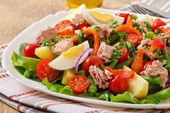 Sallad med tonfisk, tomater, potatisen och löken Royaltyfria Foton