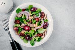 Sallad med vita bönor, tonfisk, oliv, röda lökar och torkade tomater med gröna grönsallatsidor royaltyfria foton