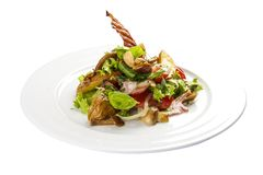 Sallad ?Slavkovsky ?, Varm sallad med bacon, potatisar, gr?splaner och champinjoner arkivfoto
