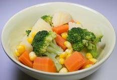 Sallader kokta grönsaker Arkivbild
