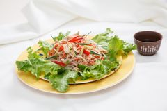 Salladfunchoza med grönsaker på en platta Arkivbilder