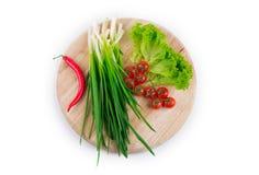 Salladslök med röd peppar Arkivfoton