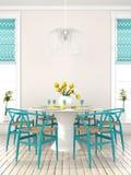 Salle à manger élégante avec les meubles bleus Images stock