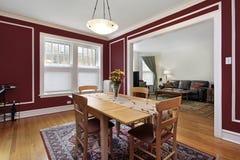 Salle à manger avec les murs rouges Image stock