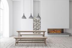 Salle à manger, banc et cheminée Arched illustration de vecteur