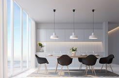 Salle à manger blanche moderne avec l'image de rendu de la vue 3d de mer Photo stock