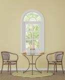Salle à manger classique moderne avec l'image jaune de rendu de la couleur 3d Photographie stock
