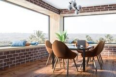Salle à manger de brique, chaises brunes illustration stock