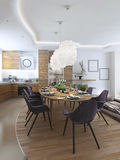Salle à manger de luxe dans un style contemporain Image stock