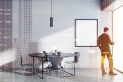 Salle à manger de table ronde, homme d'affaires, affiche Photo stock