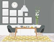 Salle à manger grise noble avec le tapis jaune images stock