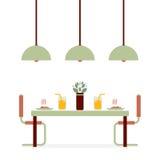 Salle à manger intérieure de conception plate Image stock