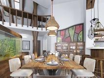 Salle à manger moderne établie dans l'espace de cuisine Photos libres de droits