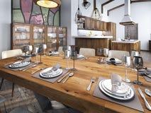 Salle à manger moderne établie dans l'espace de cuisine Images libres de droits