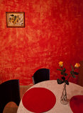 Salle à manger rouge Photos stock