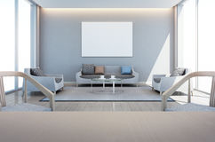 Salle à manger vivante et dans la maison moderne avec le cadre d'art images libres de droits
