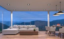 Salle à manger vivante et de maison en verre de scène de nuit avec l'image de rendu du Mountain View 3d Image libre de droits