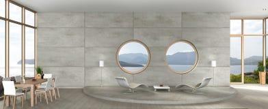 Salle à manger vivante et moderne dans l'architecture d'avant-garde illustration de vecteur
