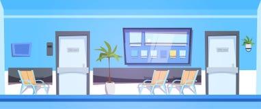 Salle d'attente d'hôpital avec la clinique intérieure Hall Background Banner de sièges vides Photo stock