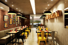 Salle 3D de Dinning Image libre de droits