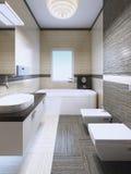 Salle de bains élégante dans la maison privée Photo stock