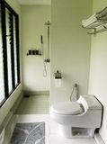 Salle de bains élégante moderne, éclairage naturel Photographie stock libre de droits