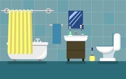 Salle de bains avec des meubles Illustration plate de vecteur de style Image stock
