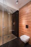 Salle de bains avec du bois d'imitation de mur photo libre de droits