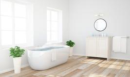 salle de bains avec de l'eau chaud prêt à avoir un bain photo stock