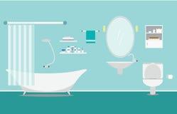 Salle de bains avec l'intérieur de meubles sur le style plat bleu de fond Image libre de droits