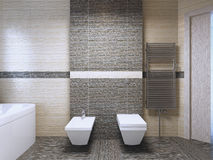 Salle de bains avec la tendance de tuile de zebrano Images stock