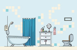 Salle de bains, avec le bain illustration libre de droits