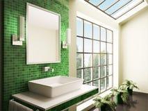Salle de bains avec le grand hublot 3d intérieur Photo libre de droits