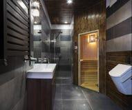 Salle de bains avec le sauna Photo stock