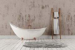 Salle de bains avec le tapis et les serviettes, le plancher en bois et le mur rugueux Photo stock