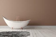Salle de bains avec le tapis, le plancher en bois et le mur rugueux Images libres de droits