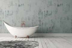 Salle de bains avec le tapis, le plancher en bois et le mur rugueux Photographie stock libre de droits