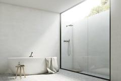 Salle de bains blanche avec un baquet, coin illustration de vecteur
