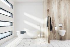 Salle de bains blanche avec un baquet, toilette illustration de vecteur