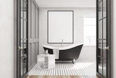 Salle de bains blanche, baquet noir, affiche illustration de vecteur