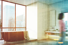 Salle de bains blanche, baquet noir, arbre, coin, femme Images stock