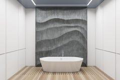 Salle de bains blanche et concrète, baquet blanc illustration de vecteur