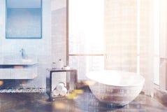 Salle de bains blanche et concrète, double de baquet Photos stock