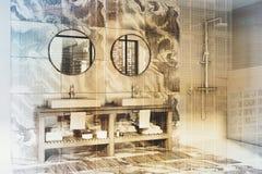 Salle de bains blanche et de marbre de mur, double évier modifié la tonalité Photo libre de droits
